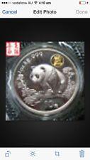 1997 china shanghai expo panda gilded silver coin no coa