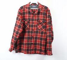 Vintage 60s Pendleton Mens Medium Virgin Wool Plaid Rockabilly Board Shirt Red