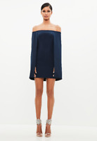 Missguided Peace + Love Navy Bardot Cape Mini Dress Size 8