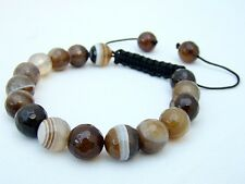 Mens Bracelet all 10mm  Natural Coffe Agate stone Beads faceted