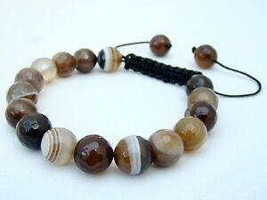 Men's Gemstone Beaded Bracelet all 10mm Natural Coffe Agate Beads faceted