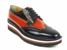 PRADA RUNWAY Black/Brown Platform Wingtip CREEPERS Lace-Up Shoes IT39.5/US9W/7M