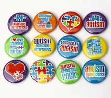 "12 AUTISM AWARENESS Buttons Pinbacks Badges 1"" Set"
