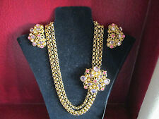 VINTAGE Jose Maria Barrera Necklace & Clip-On Earrings Set~Signed~RARE**NEW**!!