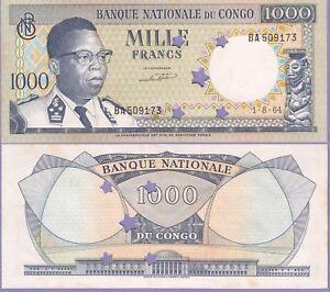 Congo Democractic Republic 1000 Francs Banknote 1964 ChAU #8-A Punch Cancelled