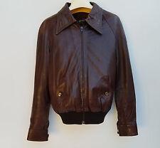 Leather Bomber Jacket Brown Men size 40 Slightly Damaged Sleeve