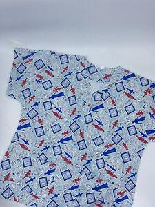 Men Women Nursing Family Dentistry Tooth Printed Scrub Uniform Top Large