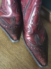 Brown / red Leather zip up Cowboy Boots - €uro 39 - UK 6 - US 8.5