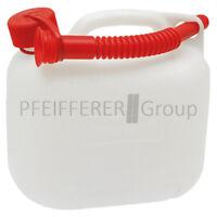 Kraftstoffkanister (UN) 5 Liter HD-PE mit Auslaufrohr transparent weiß Benzin
