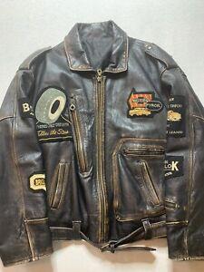 Vintage Afiol Dipelle Italian Mens  Motorbike Leather Jacket  Size M ( H3)