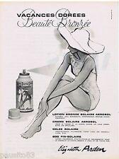 PUBLICITE ADVERTISING 115  1960  ELISABETH ARDEN   creme solaire aérosol