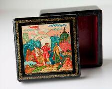 "Vintage Russian USSR Black Lacquer Box, Mstera, Fairy Tail ""Sem' Simeonov"""
