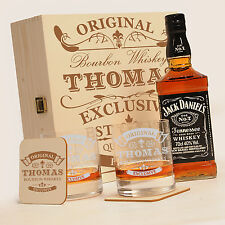 Holzkiste mit Jack Daniels No.7  | 6-tlg. Whisky Geschenk Set inkl. Gravur