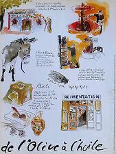 AFFICHE de L'OLIVE à l'HUILE Moulin Aïoli Pâte l'Ane Cigale Dessin par CHARDENAS