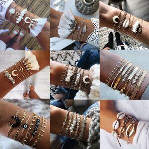 Women Multilayer Tassel Crystal Shell Bracelet Beach Rope Weave Bangle Set Gift