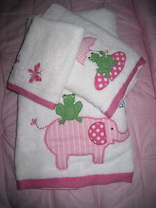 NEW Pottery Barn Kids TAYLOR Elephant Pink BATH TOWEL SET! 3 PC SET RARE FIND!