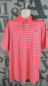 New Under Armour Polo Golf Shirt Men 2XL Loose Fit Stretch Coral Red Stripe $60