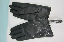 Black Leather Gloves MED  Silver Rivets Dots Trim All Polyester Black Lining NWT