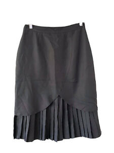 KATIES Vintage Black Pleated Skirt  Size 16 Fully Lined Business Work Casual