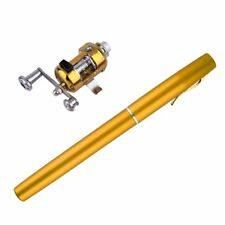 Mini Pen Fishing Rods Aluminum Alloy Pole With Reel Wheel Portable Pocket Device