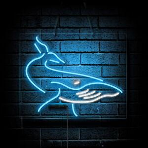 """17""""x14""""Ocean Whale Neon Sign Light Handmade Real Glass Tube Visual Artwork Gift"""