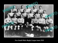 OLD LARGE HISTORIC PHOTO OF OF THE NEW SOUTH WALES RUGBY LEAGUE TEAM, 1910