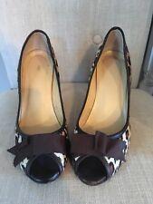 J Crew Calf Hair Peep Toe Heels 8.5 grosgrain bow Shoes