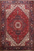Excellent Vintage Geometric Heriz Traditional Area Rug Hand-Knotted Wool 7'x10'