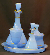 AF 1910 service opaline bleu verre opalin plateau fiole carafe verre drageoir