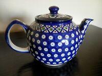 Polish Stoneware Boleslawiec Hand Made in Poland Teapot