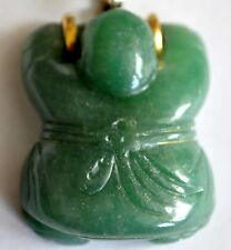 Vintage Chinese Aventurine Pendant with 14K Solid Gold Clasp (READ)