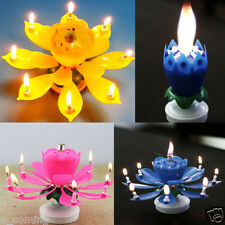 Amazing Singing Opening Flower Musical Happy Birthday Candle Cake Topper YELLOW