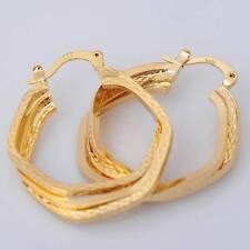"""Row 5 Sided Twist 1"""" Hoop Earrings Nice New 14K Yellow Gold Filled Triple"""