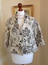 Sisley Ivory Grey Floral Brocade Cropped Jacket NWT FR38 UK10 Made In Italy Fab!