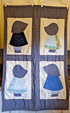 Vintage Quilt Sunbonnet Sue Sam Hand Tied Machine Stitched 54 x 34.5 Inches