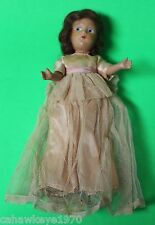 """VINTAGE 11""""  BISQUE DOLL W/ PAINTED EYES & DRESS, SHOES, SOCKS"""