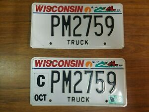 Wisconsin Pair Expired Truck License Plates ~ PM2759 ~ Embossed