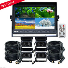 "10.1"" Quad Monitor Split screen 4PIN CCD Reversing Camera 12V 24V 4 Package Kit"