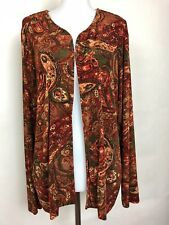 Chicos Travelers Open Front Jacket Size 3 Acetate Multi Color L/Sleeves