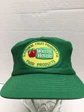 Vtg 80s National Fruit Product White House Apple Patch Hat Usa