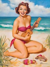 1940s Pin-Up Girl Ukulele on the Beach Picture Poster Print Vintage Art Pin Up