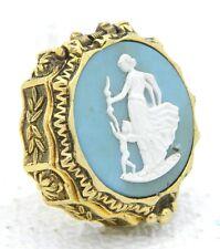 VTG Corday Perfume Compact Toujours Moi Venus Creme Cameo Blue White Gold Tone