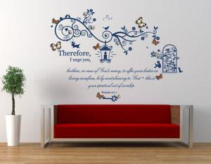 Romans 12 v 1 Bible Quote with 3D Butterflies,Vinyl Wall Art Stickers.Church