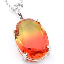 Oval Fed Watermelon BI-COLORED Tourmaline Gem Silver Necklace Pendant With Chain