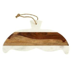 AMR526 - Set of 2 - Whale Tail - Wood and Marble - Serving Tray