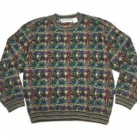 Men's Sz L Wool Blend Sweater Coogi Cosby Biggie Style Hip Hop 90s Geometric