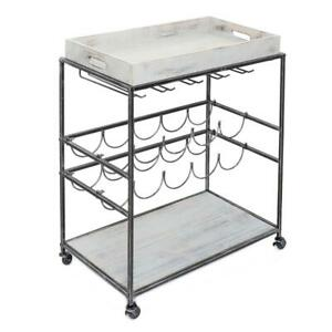Old Dutch Wine Serving Cart Removable Top Shelf Barnwood Gray Iron Construction