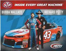 "2018 BUBBA WALLACE / RICHARD PETTY ""STP"" #43 NASCAR MONSTER HERO CARD POSTCARD"