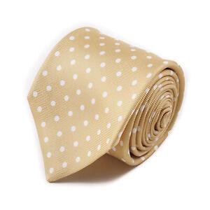 Kiton Napoli 7-Fold Golden Tan Twill Silk Tie with White Dot Print Print