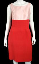 OSCAR DE LA RENTA NWT Powder Pink & Coral Crepe Sleeveless Sheath Dress 12